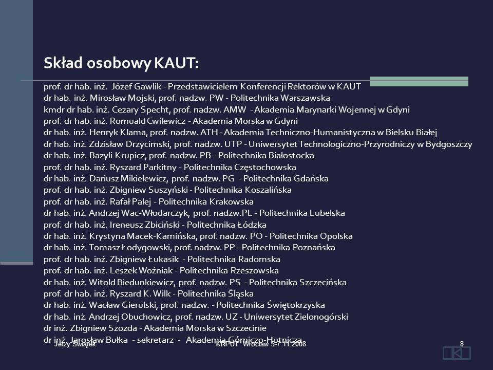 Skład osobowy KAUT: prof. dr hab. inż. Józef Gawlik - Przedstawicielem Konferencji Rektorów w KAUT dr hab. inż. Mirosław Mojski, prof. nadzw. PW - Pol