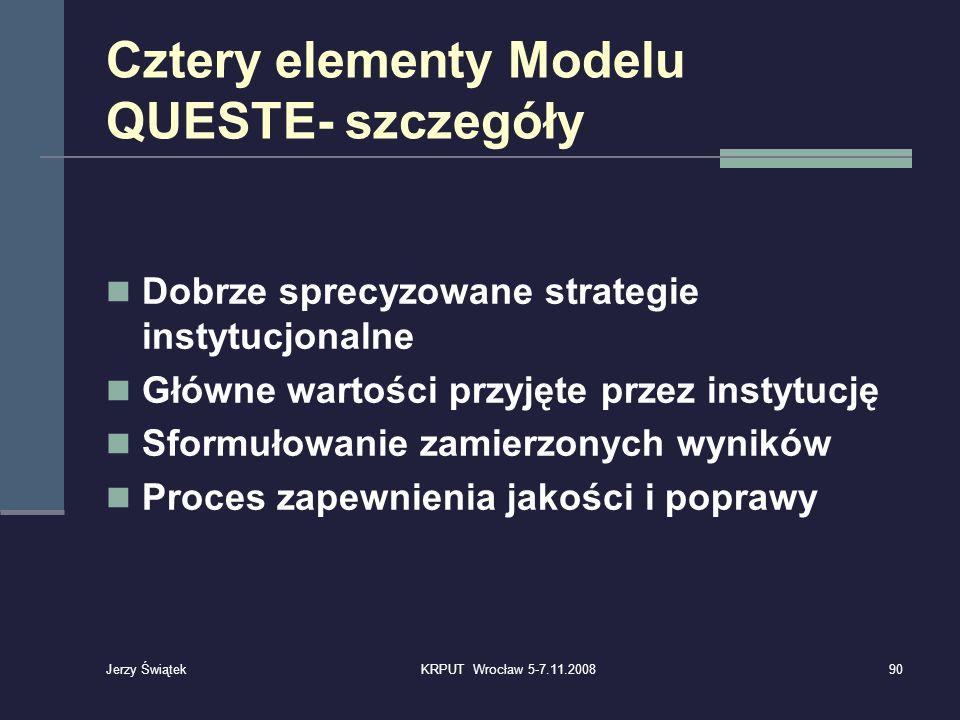 Cztery elementy Modelu QUESTE- szczegóły Dobrze sprecyzowane strategie instytucjonalne Główne wartości przyjęte przez instytucję Sformułowanie zamierz