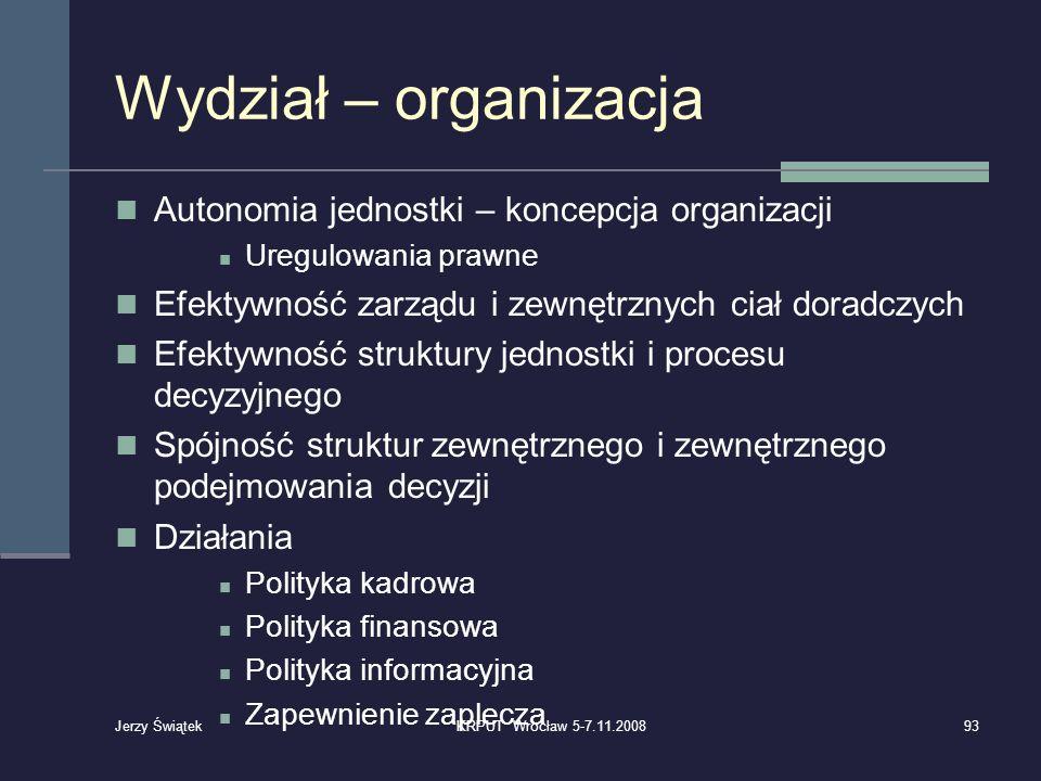 Wydział – organizacja Autonomia jednostki – koncepcja organizacji Uregulowania prawne Efektywność zarządu i zewnętrznych ciał doradczych Efektywność s