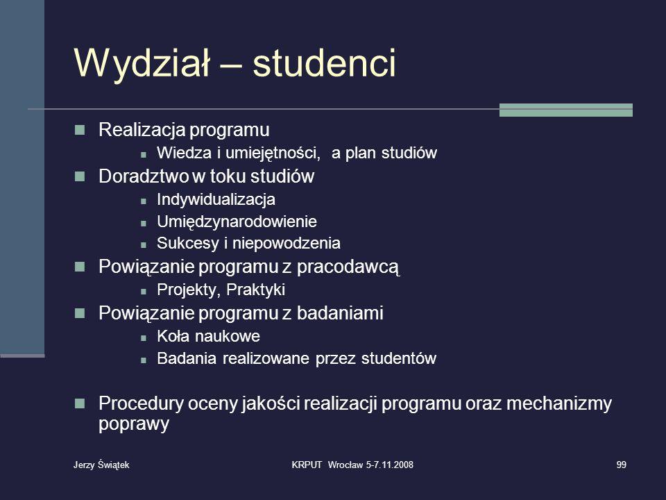 Wydział – studenci Realizacja programu Wiedza i umiejętności, a plan studiów Doradztwo w toku studiów Indywidualizacja Umiędzynarodowienie Sukcesy i n