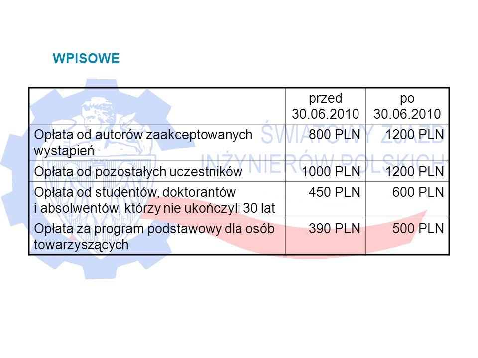 przed 30.06.2010 po 30.06.2010 Opłata od autorów zaakceptowanych wystąpień 800 PLN1200 PLN Opłata od pozostałych uczestników1000 PLN1200 PLN Opłata od studentów, doktorantów i absolwentów, którzy nie ukończyli 30 lat 450 PLN600 PLN Opłata za program podstawowy dla osób towarzyszących 390 PLN500 PLN WPISOWE