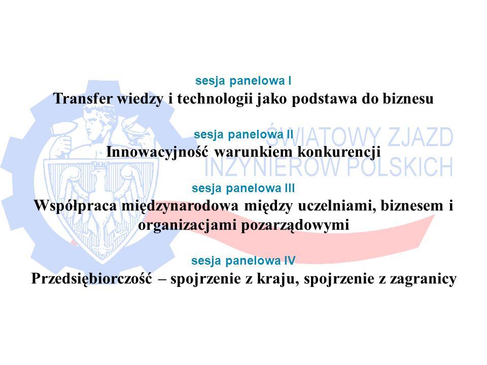 sesja panelowa I Transfer wiedzy i technologii jako podstawa do biznesu sesja panelowa II Innowacyjność warunkiem konkurencji sesja panelowa III Współpraca międzynarodowa między uczelniami, biznesem i organizacjami pozarządowymi sesja panelowa IV Przedsiębiorczość – spojrzenie z kraju, spojrzenie z zagranicy