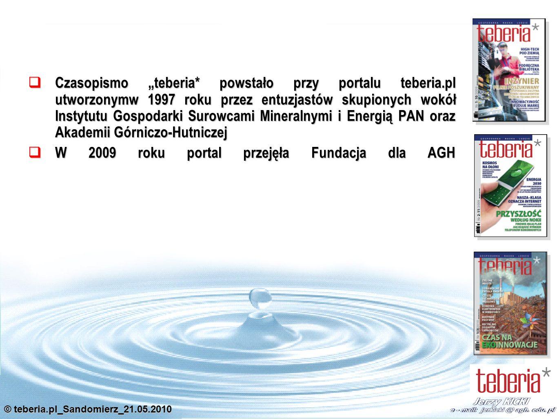 Czasopismo teberia to również filar intensywnie zmieniającego się portalu internetowego teberia.pl, który wywodzi się z kręgu gospodarki surowcami mineralnymi i funkcjonuje w sieci już 5 lat budując ogromną bazę wiedzy.