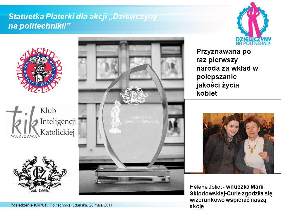 Posiedzenie KRPUT, Politechnika Gdańska, 26 maja 2011 Statuetka Platerki dla akcji Dziewczyny na politechniki! Przyznawana po raz pierwszy naroda za w