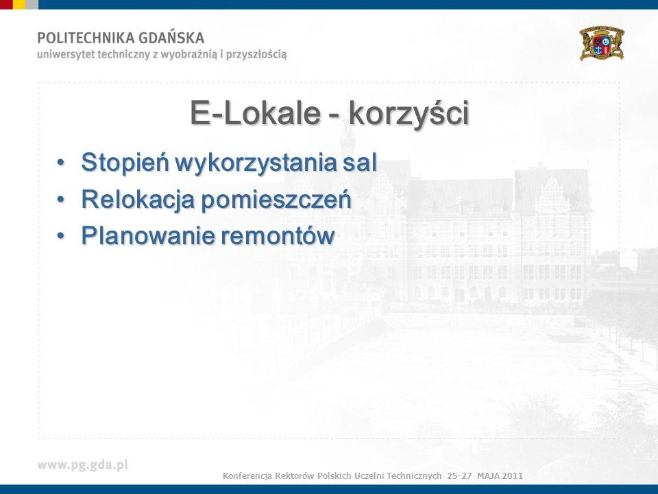 E-Lokale - korzyści Stopień wykorzystania salStopień wykorzystania sal Relokacja pomieszczeńRelokacja pomieszczeń Planowanie remontówPlanowanie remontów Konferencja Rektorów Polskich Uczelni Technicznych 25-27 MAJA 2011
