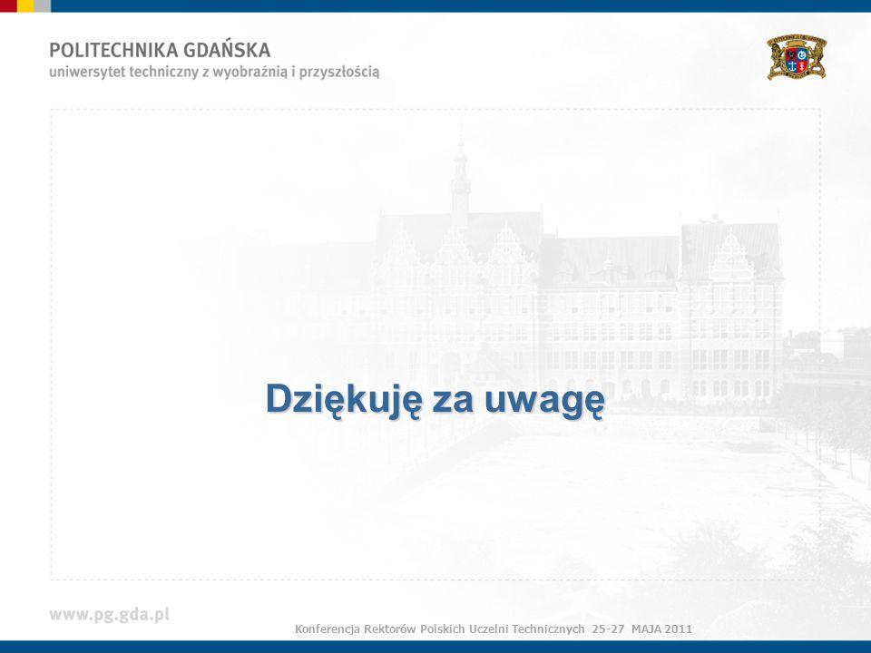 Dziękuję za uwagę Konferencja Rektorów Polskich Uczelni Technicznych 25-27 MAJA 2011