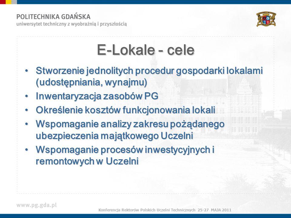 E-Lokale - cele Stworzenie jednolitych procedur gospodarki lokalami (udostępniania, wynajmu)Stworzenie jednolitych procedur gospodarki lokalami (udostępniania, wynajmu) Inwentaryzacja zasobów PGInwentaryzacja zasobów PG Określenie kosztów funkcjonowania lokaliOkreślenie kosztów funkcjonowania lokali Wspomaganie analizy zakresu pożądanego ubezpieczenia majątkowego UczelniWspomaganie analizy zakresu pożądanego ubezpieczenia majątkowego Uczelni Wspomaganie procesów inwestycyjnych i remontowych w UczelniWspomaganie procesów inwestycyjnych i remontowych w Uczelni Konferencja Rektorów Polskich Uczelni Technicznych 25-27 MAJA 2011