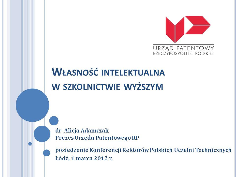 W ŁASNOŚĆ INTELEKTUALNA W SZKOLNICTWIE WYŻSZYM posiedzenie Konferencji Rektorów Polskich Uczelni Technicznych Łódź, 1 marca 2012 r. dr Alicja Adamczak