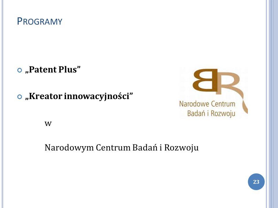 P ROGRAMY Patent Plus Kreator innowacyjności w Narodowym Centrum Badań i Rozwoju 23