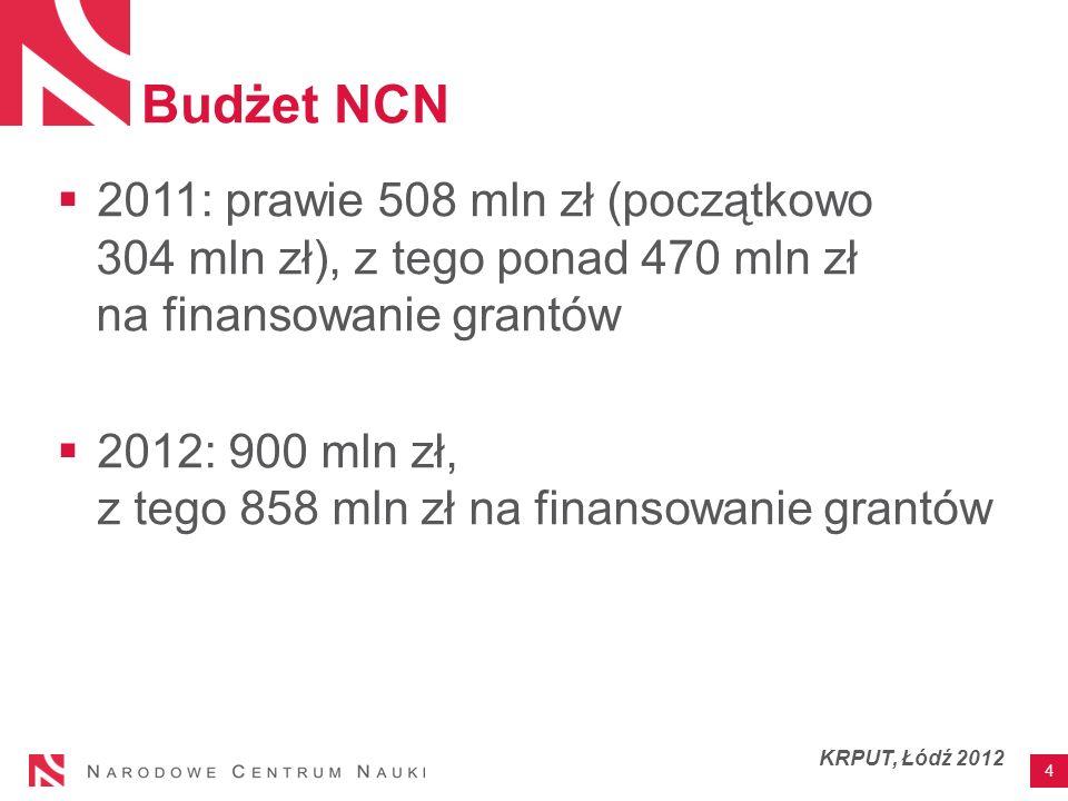 Budżet NCN 2011: prawie 508 mln zł (początkowo 304 mln zł), z tego ponad 470 mln zł na finansowanie grantów 2012: 900 mln zł, z tego 858 mln zł na finansowanie grantów 4 KRPUT, Łódź 2012