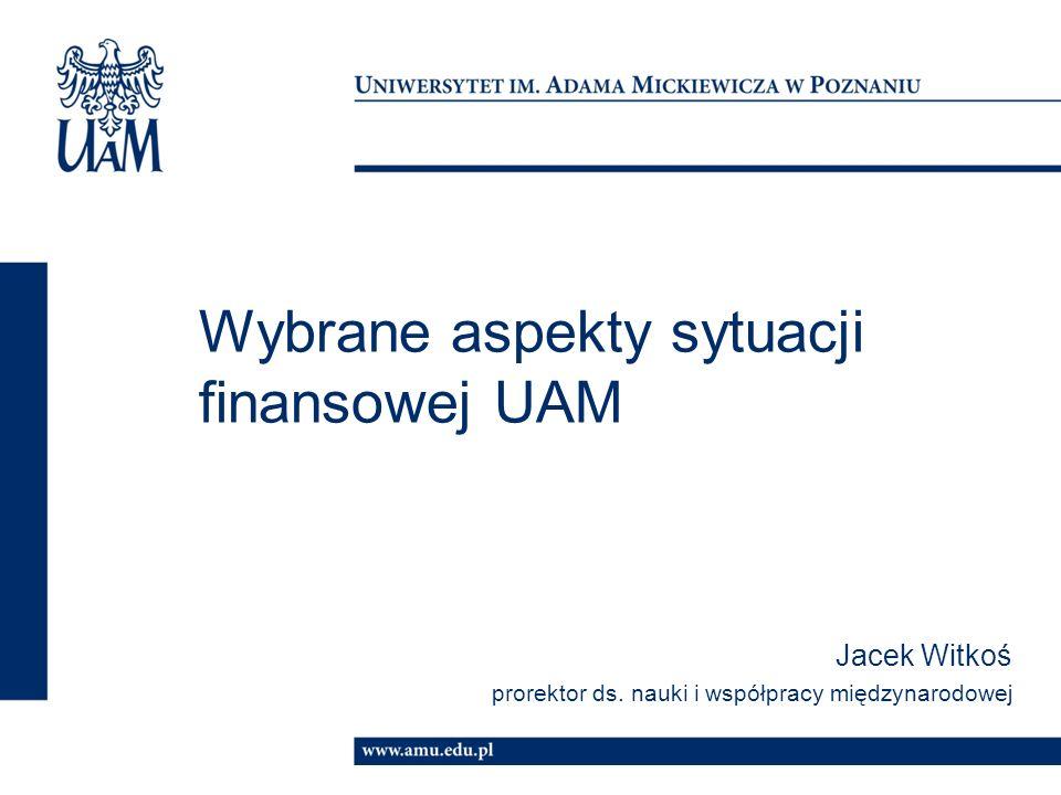 Wybrane aspekty sytuacji finansowej UAM Jacek Witkoś prorektor ds.