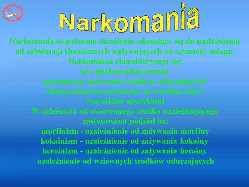 Narkomania to potoczne określenie odnoszące się do uzależnienia od substancji chemicznych wpływających na czynność mózgu.