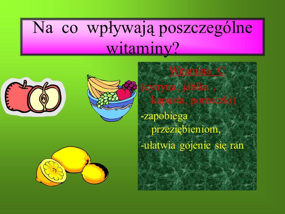 Na co wpływają poszczególne witaminy.
