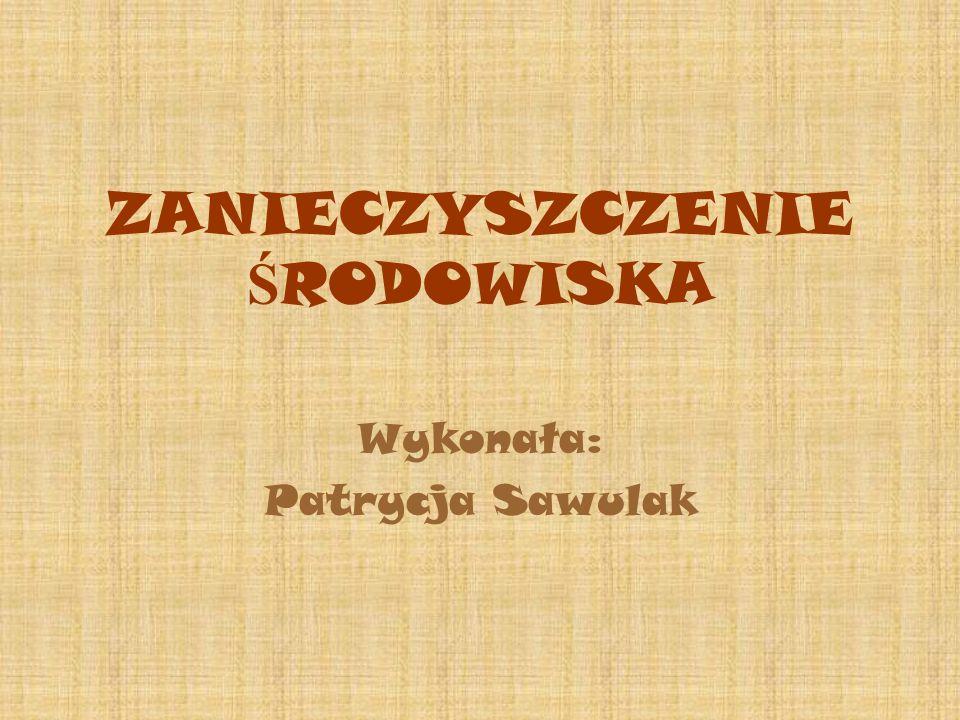 ZANIECZYSZCZENIE Ś RODOWISKA Wykonała: Patrycja Sawulak
