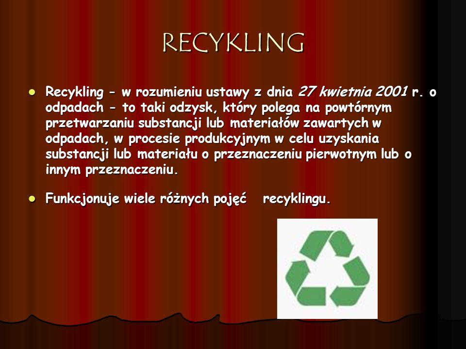 RECYKLING Recykling - w rozumieniu ustawy z dnia 27 kwietnia 2001 r. o odpadach - to taki odzysk, który polega na powtórnym przetwarzaniu substancji l
