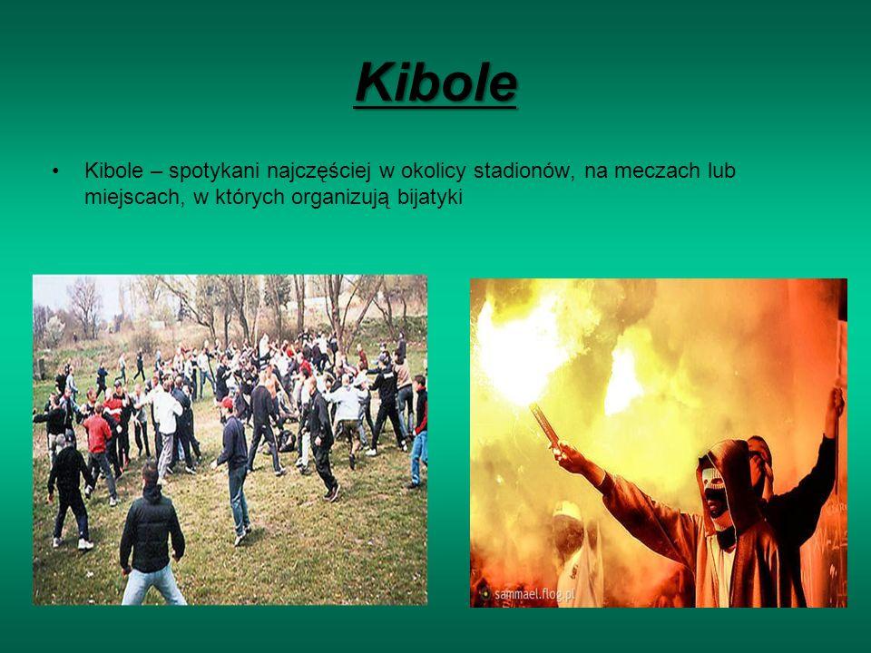 Kibole Kibole – spotykani najczęściej w okolicy stadionów, na meczach lub miejscach, w których organizują bijatyki