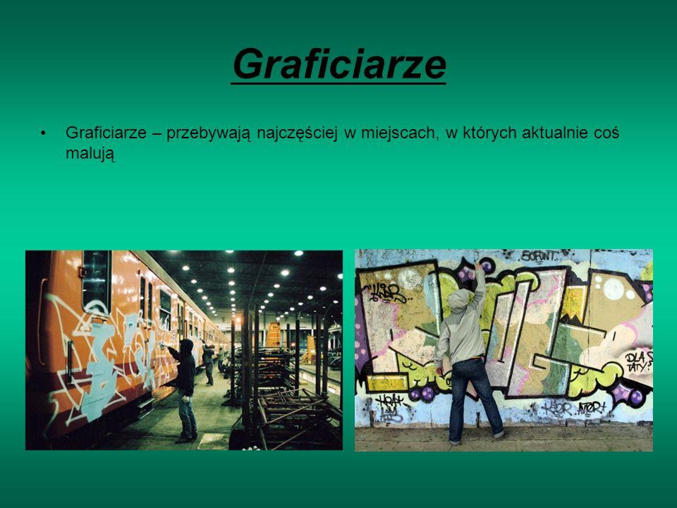 Graficiarze Graficiarze – przebywają najczęściej w miejscach, w których aktualnie coś malują
