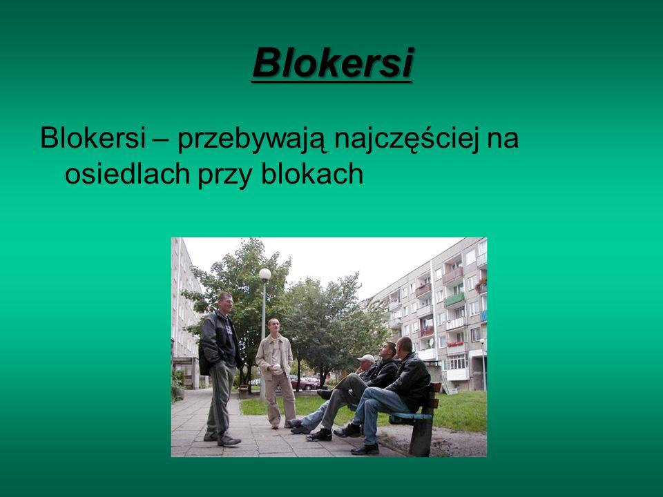 Blokersi Blokersi – przebywają najczęściej na osiedlach przy blokach