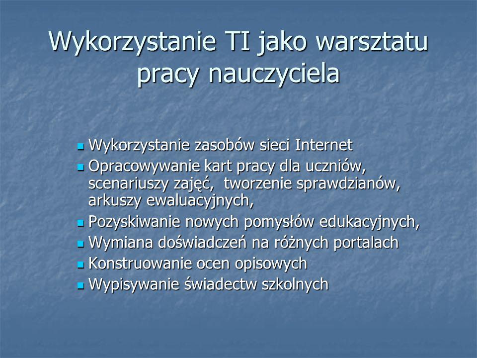 Wykorzystanie TI jako warsztatu pracy nauczyciela Wykorzystanie zasobów sieci Internet Wykorzystanie zasobów sieci Internet Opracowywanie kart pracy d