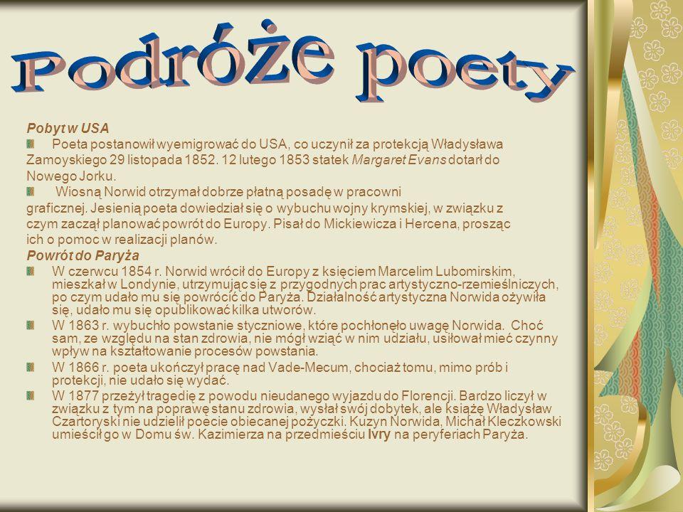 Pobyt w USA Poeta postanowił wyemigrować do USA, co uczynił za protekcją Władysława Zamoyskiego 29 listopada 1852.