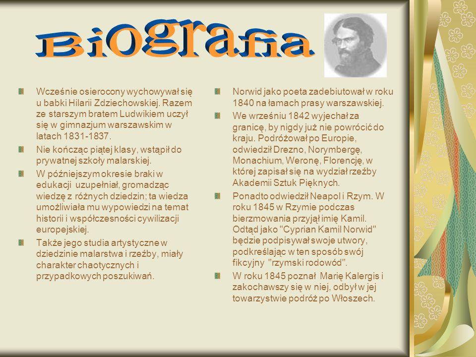 Norwid jako poeta zadebiutował w roku 1840 na łamach prasy warszawskiej. We wrześniu 1842 wyjechał za granicę, by nigdy już nie powrócić do kraju. Pod