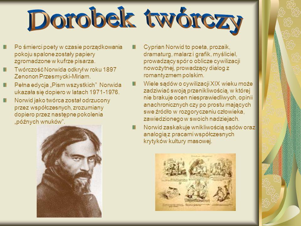 Po śmierci poety w czasie porządkowania pokoju spalone zostały papiery zgromadzone w kufrze pisarza. Twórczość Norwida odkrył w roku 1897 Zenonon Prze
