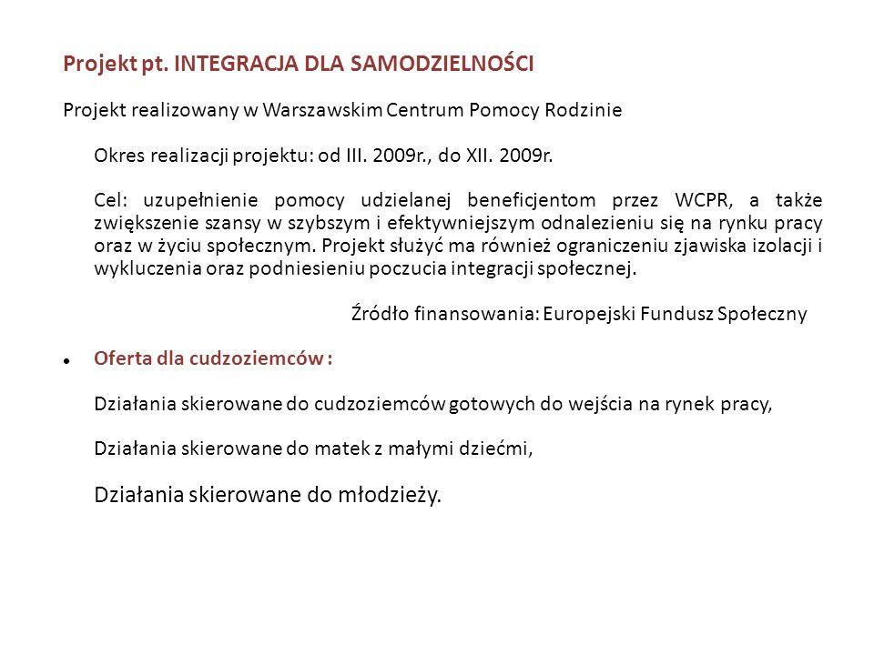 Projekt pt. INTEGRACJA DLA SAMODZIELNOŚCI Projekt realizowany w Warszawskim Centrum Pomocy Rodzinie Okres realizacji projektu: od III. 2009r., do XII.
