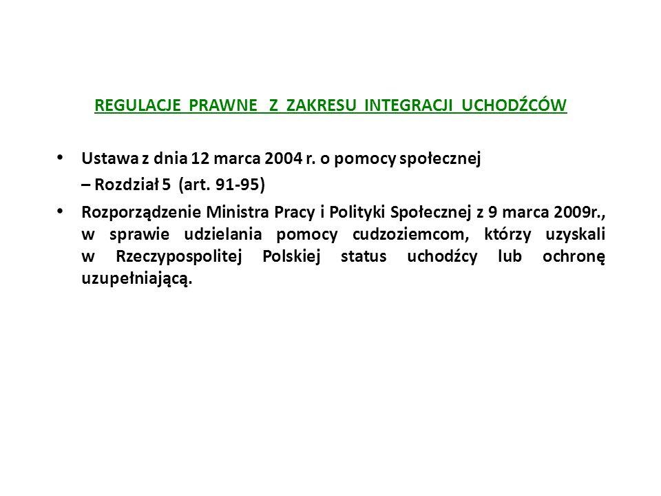 REGULACJE PRAWNE Z ZAKRESU INTEGRACJI UCHODŹCÓW Ustawa z dnia 12 marca 2004 r. o pomocy społecznej – Rozdział 5 (art. 91-95) Rozporządzenie Ministra P