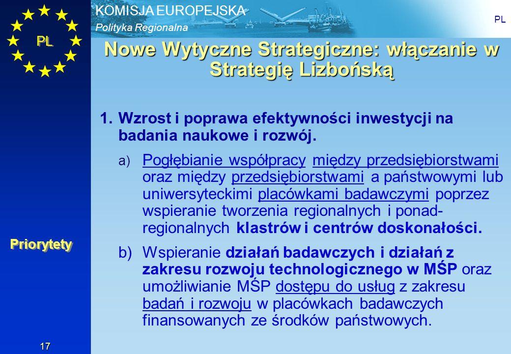 Polityka Regionalna KOMISJA EUROPEJSKA PL 17 Nowe Wytyczne Strategiczne: włączanie w Strategię Lizbońską 1.Wzrost i poprawa efektywności inwestycji na