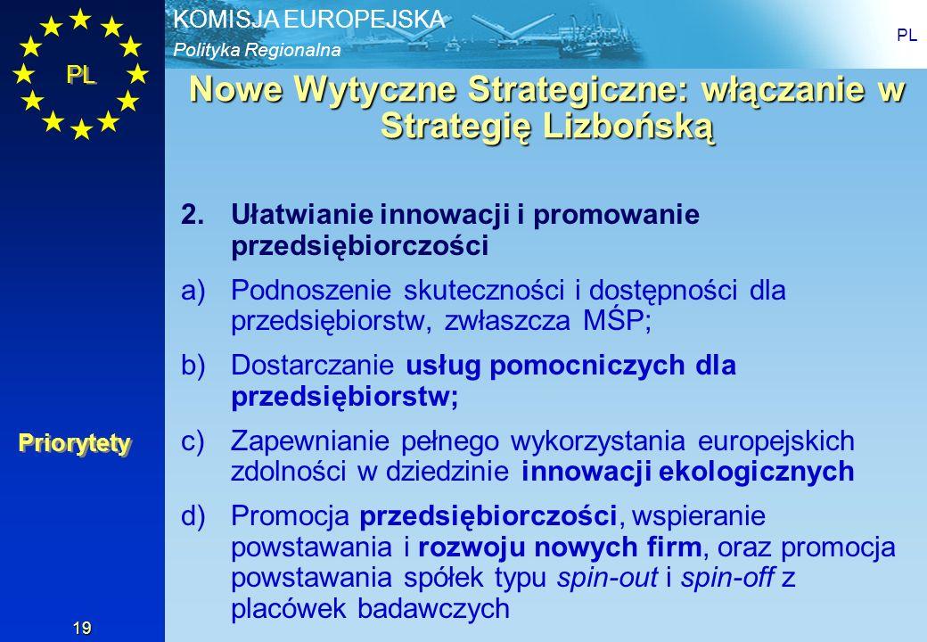 Polityka Regionalna KOMISJA EUROPEJSKA PL 19 Nowe Wytyczne Strategiczne: włączanie w Strategię Lizbońską 2.Ułatwianie innowacji i promowanie przedsięb