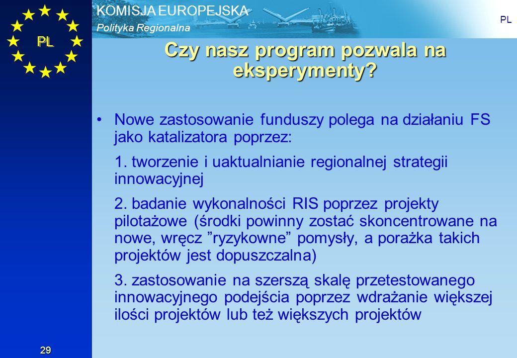 Polityka Regionalna KOMISJA EUROPEJSKA PL 29 Czy nasz program pozwala na eksperymenty? Nowe zastosowanie funduszy polega na działaniu FS jako kataliza