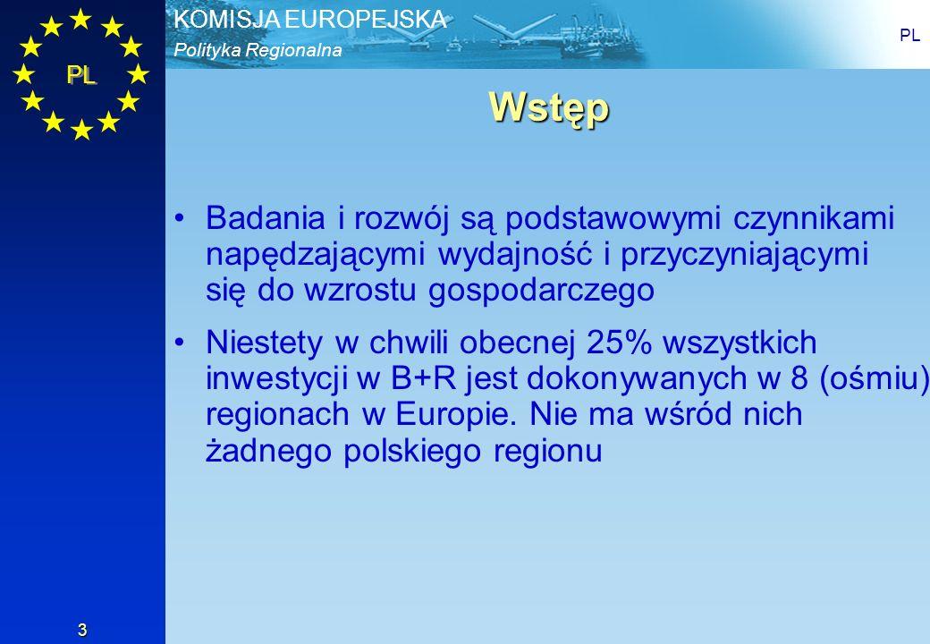 Polityka Regionalna KOMISJA EUROPEJSKA PL 3 Wstęp Badania i rozwój są podstawowymi czynnikami napędzającymi wydajność i przyczyniającymi się do wzrost
