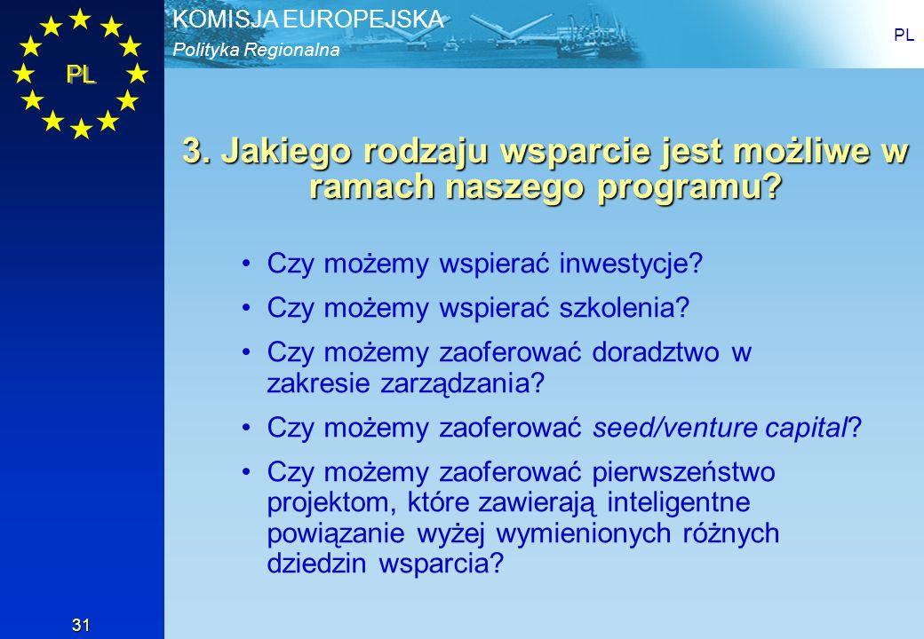 Polityka Regionalna KOMISJA EUROPEJSKA PL 31 3. Jakiego rodzaju wsparcie jest możliwe w ramach naszego programu? Czy możemy wspierać inwestycje? Czy m