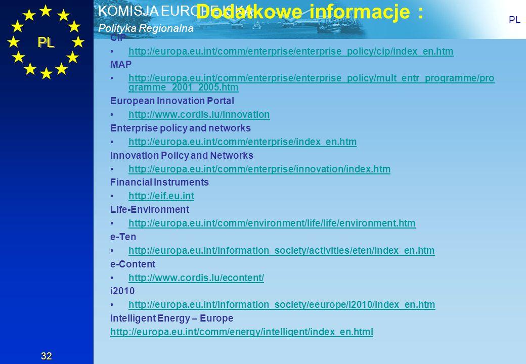 Polityka Regionalna KOMISJA EUROPEJSKA PL 32 Dodatkowe informacje : CIP http://europa.eu.int/comm/enterprise/enterprise_policy/cip/index_en.htm MAP ht