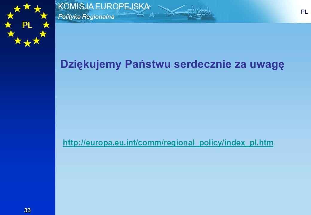 Polityka Regionalna KOMISJA EUROPEJSKA PL 33 http://europa.eu.int/comm/regional_policy/index_pl.htm Dziękujemy Państwu serdecznie za uwagę
