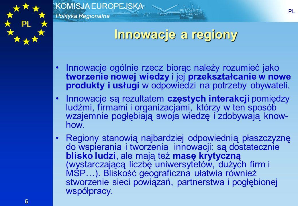 Polityka Regionalna KOMISJA EUROPEJSKA PL 5 Innowacje a regiony Innowacje ogólnie rzecz biorąc należy rozumieć jako tworzenie nowej wiedzy i jej przek