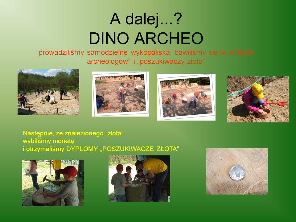 A dalej...? DINO ARCHEO prowadziliśmy samodzielne wykopaliska, bawiliśmy się w małych archeologów i poszukiwaczy złota Następnie, ze znalezionego złot