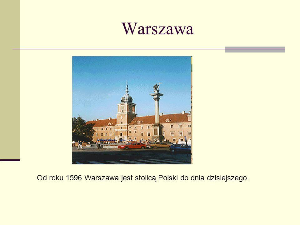 Warszawa Od roku 1596 Warszawa jest stolicą Polski do dnia dzisiejszego.