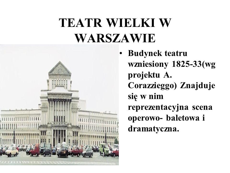 TEATR WIELKI W WARSZAWIE Budynek teatru wzniesiony 1825-33(wg projektu A. Corazzieggo) Znajduje się w nim reprezentacyjna scena operowo- baletowa i dr