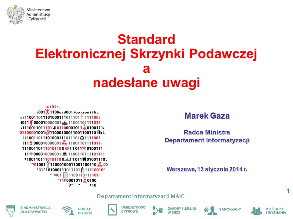 Departament Informatyzacji MAiC 1 Standard Elektronicznej Skrzynki Podawczej a nadesłane uwagi Marek Gaza Radca Ministra Departament Informatyzacji Wa