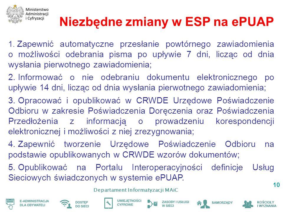 Departament Informatyzacji MAiC 10 Niezbędne zmiany w ESP na ePUAP 1. Zapewnić automatyczne przesłanie powtórnego zawiadomienia o możliwości odebrania