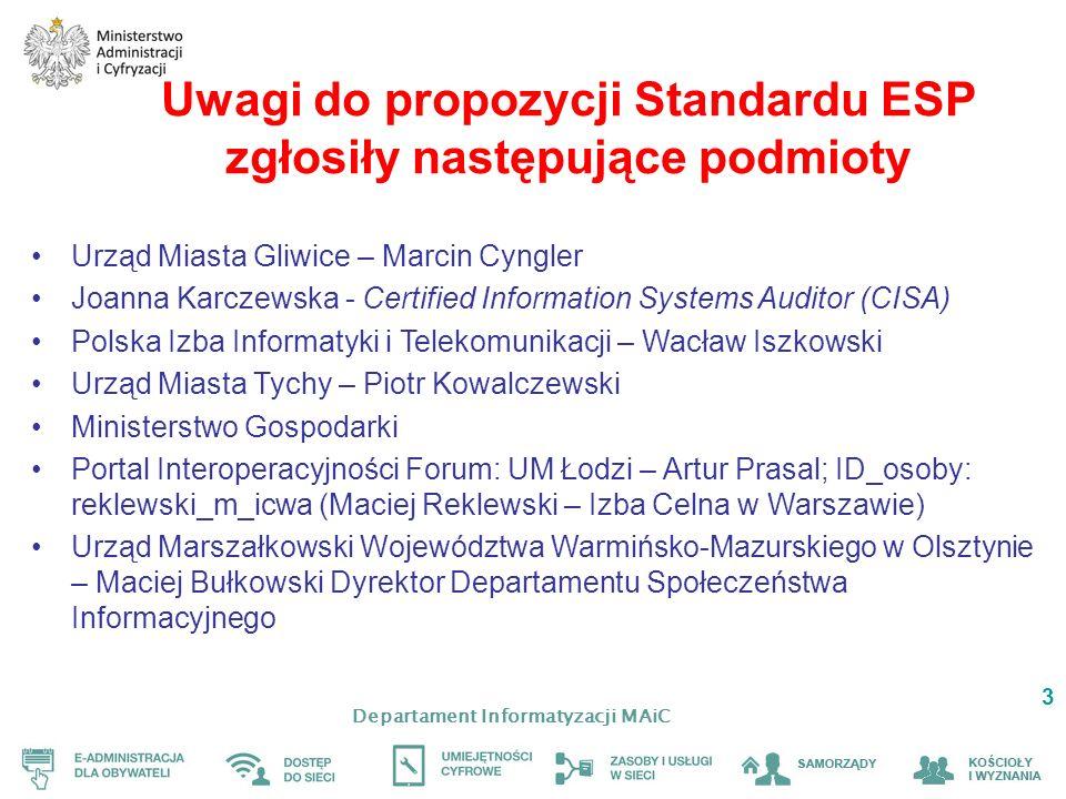 Departament Informatyzacji MAiC 3 Uwagi do propozycji Standardu ESP zgłosiły następujące podmioty Urząd Miasta Gliwice – Marcin Cyngler Joanna Karczew