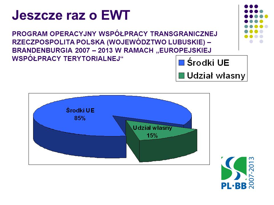 PROGRAM OPERACYJNY WSPÓŁPRACY TRANSGRANICZNEJ RZECZPOSPOLITA POLSKA (WOJEWÓDZTWO LUBUSKIE) – BRANDENBURGIA 2007 – 2013 W RAMACH EUROPEJSKIEJ WSPÓŁPRACY TERYTORIALNEJ Jeszcze raz o EWT