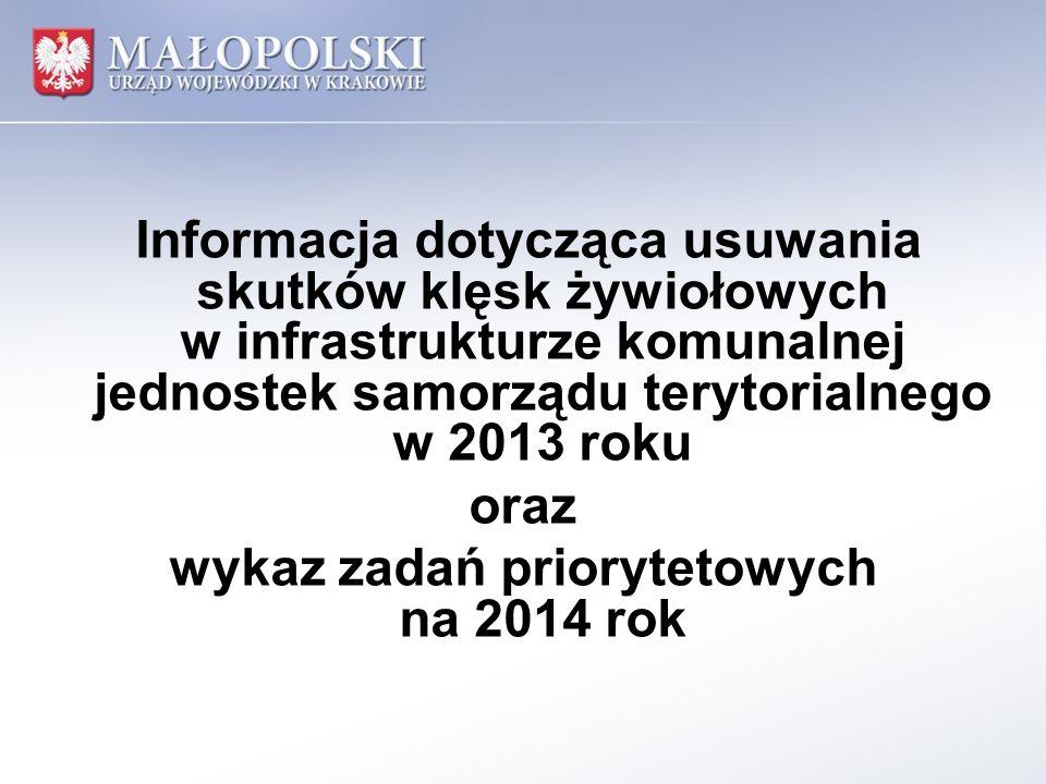 Informacja dotycząca usuwania skutków klęsk żywiołowych w infrastrukturze komunalnej jednostek samorządu terytorialnego w 2013 roku oraz wykaz zadań priorytetowych na 2014 rok