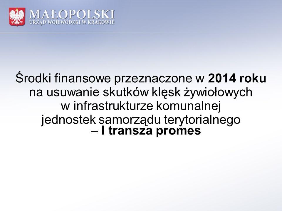 Środki finansowe przeznaczone w 2014 roku na usuwanie skutków klęsk żywiołowych w infrastrukturze komunalnej jednostek samorządu terytorialnego – I transza promes