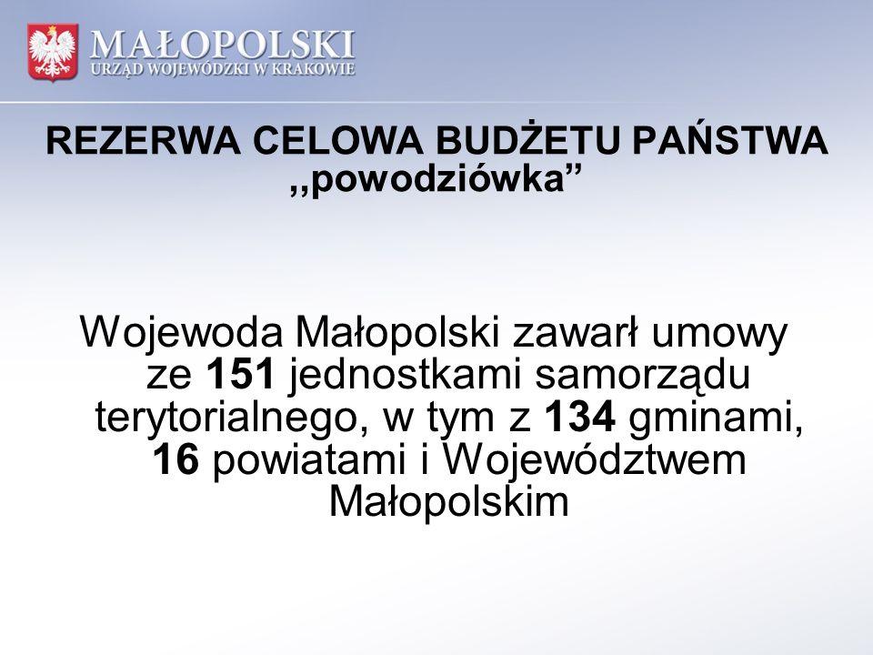 REZERWA CELOWA BUDŻETU PAŃSTWA,,powodziówka podpisane zostały 552 umowy, w tym 486 umów z gminami, 64 umowy z powiatami oraz 2 umowy z Województwem Małopolskim na realizację 552 zadań, w tym 486 zadań realizowanych przez gminy, 64 zadania realizowane przez powiaty oraz 2 zadania realizowane przez Województwo Małopolskie
