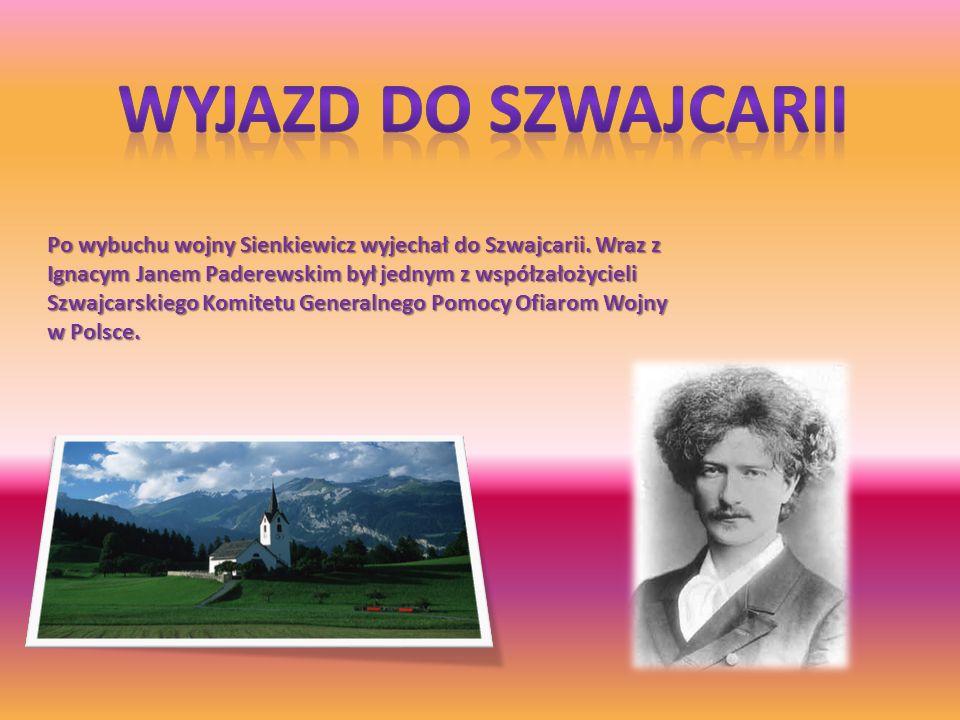 Po wybuchu wojny Sienkiewicz wyjechał do Szwajcarii. Wraz z Ignacym Janem Paderewskim był jednym z współzałożycieli Szwajcarskiego Komitetu Generalneg