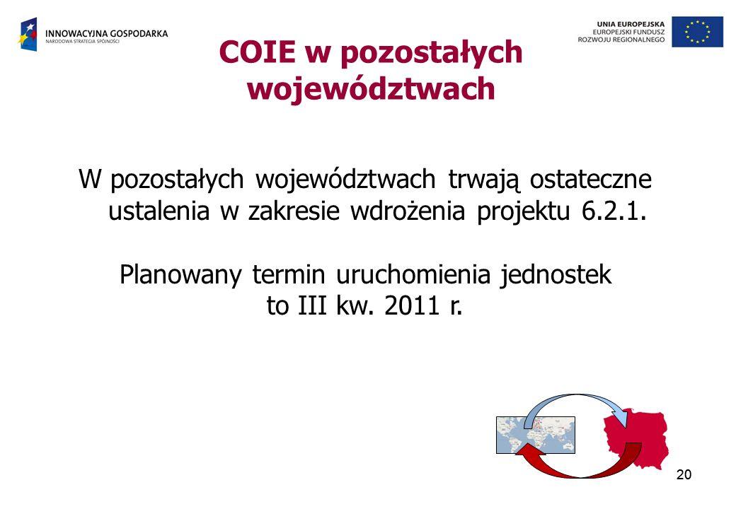 20 COIE w pozostałych województwach 20 W pozostałych województwach trwają ostateczne ustalenia w zakresie wdrożenia projektu 6.2.1.