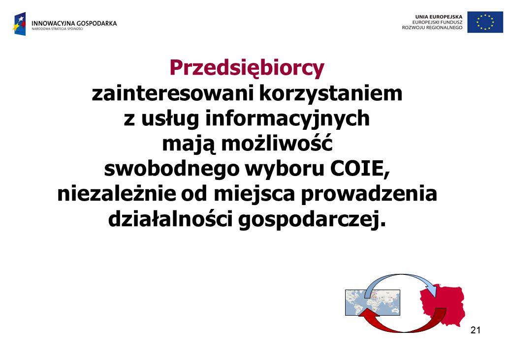 21 Przedsiębiorcy zainteresowani korzystaniem z usług informacyjnych mają możliwość swobodnego wyboru COIE, niezależnie od miejsca prowadzenia działalności gospodarczej.