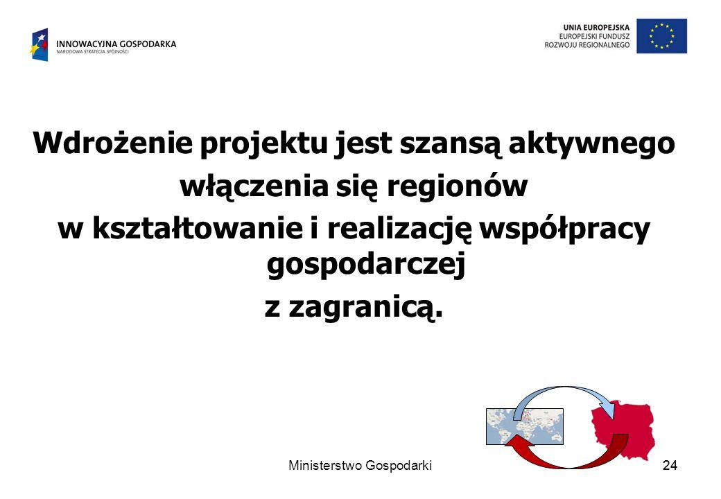 24 Wdrożenie projektu jest szansą aktywnego włączenia się regionów w kształtowanie i realizację współpracy gospodarczej z zagranicą.